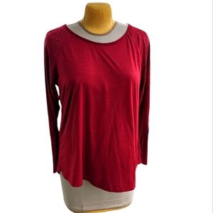 GUC Cato Plus Studded Raglan Sleeve Marled Red Top